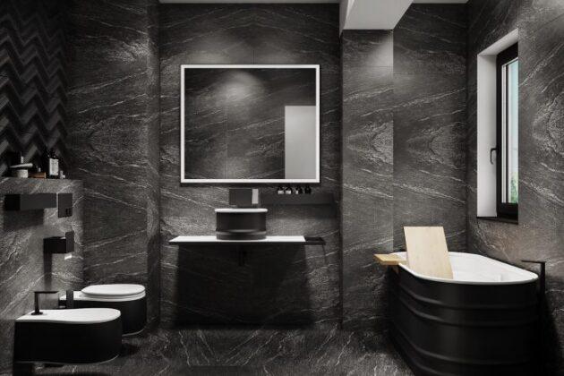 Büyük Aynalı Banyo Dekorasyonu